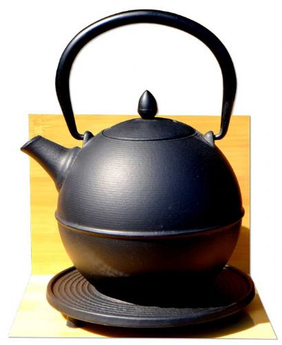 "Cannon Ball & trivet - Japanese style ""Tetsubin"" cast iron black tea pot kettle 0.7 Litre"